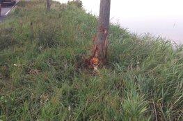 Auto tegen boom langs N247